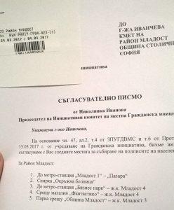 Съгласуване на пунктове за събиране на подписи